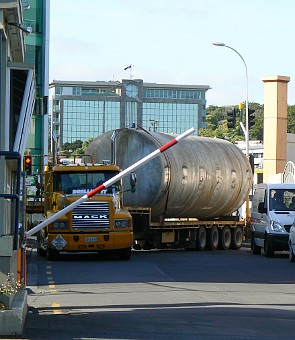 Tank on large truck trailer